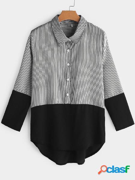 Blusas de manga larga con cuello clásico y diseño de rayas negras