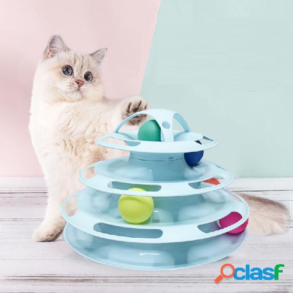 4 capas del gato del entrenamiento del gato de la mascota que da vuelta a la placa del juguete el gatito entretiene bolas que dan vuelta al juguete