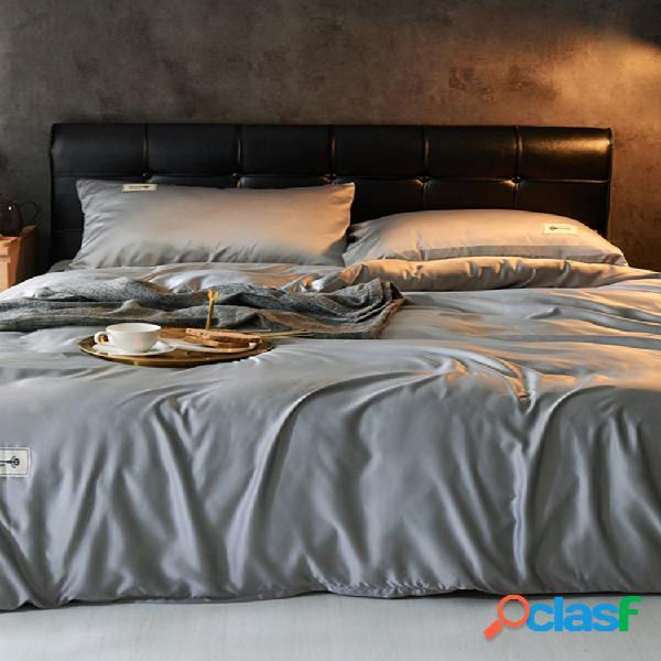 Juego de cama de satén de seda lavada sólida tamaño ue 4 piezas soft funda nórdica transpirable funda de almohada