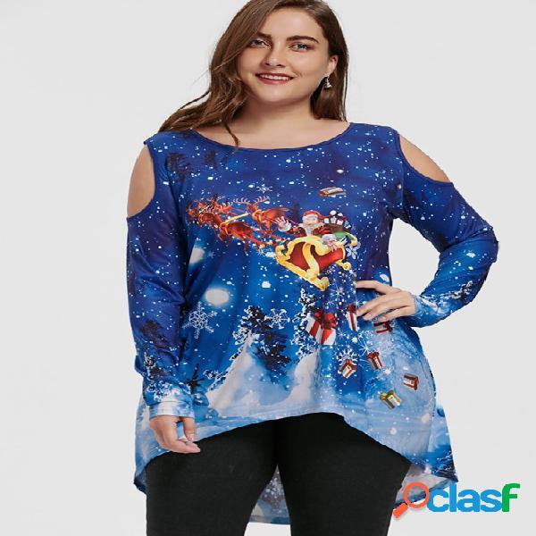 Blusa talla extra hombro azul estampado navideño frío