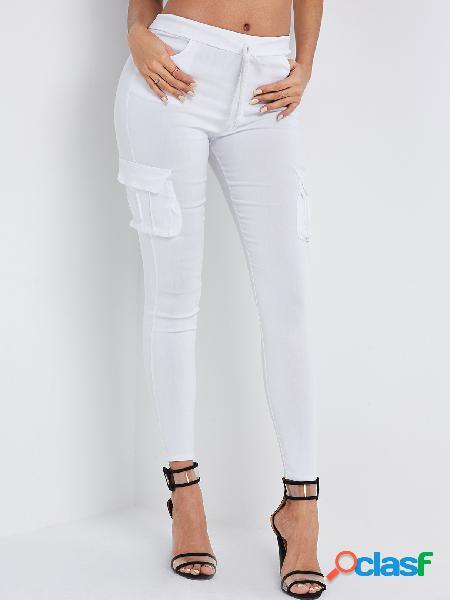 Bolsillos laterales blancos cintura con cordón simple pantalones pitillo de carga