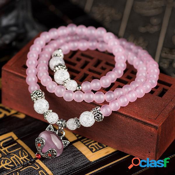 Vendimia pulseras de abalorios gato encanto pulseras de múltiples capas de flores de cristal natural para mujer