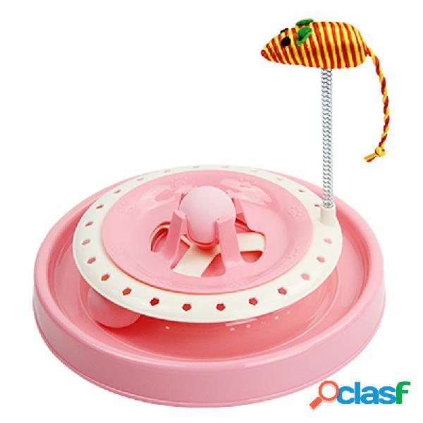 2 colores gato entrenamiento interactivo juguete mascota divertido pelota de running placa juguetes