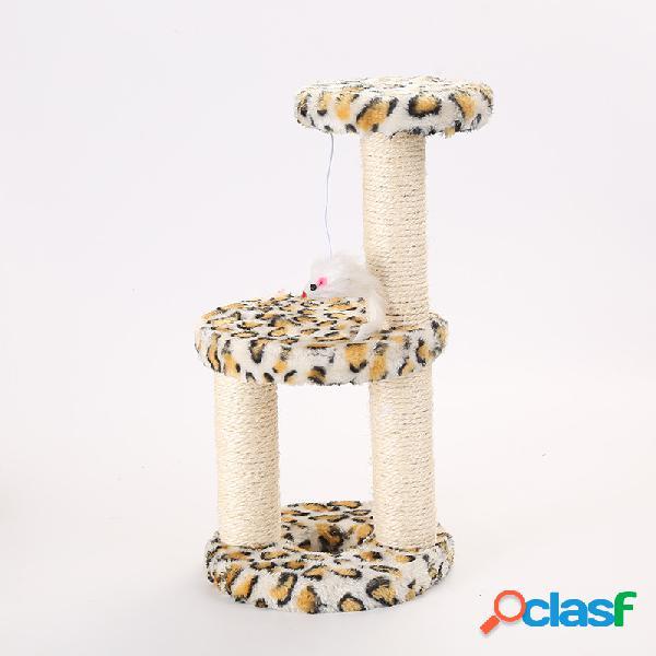 Pet gato disco de tres columnas de tres columnas de sisal juguete mediano gato ensamblaje desmontable de marco de escalada