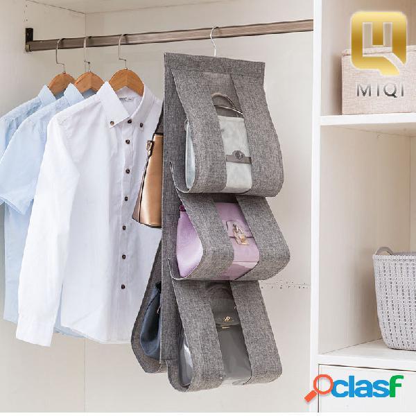 Armario creativo multicapa transparente bolsa colgante de almacenamiento bolsa tela de algodón y lino