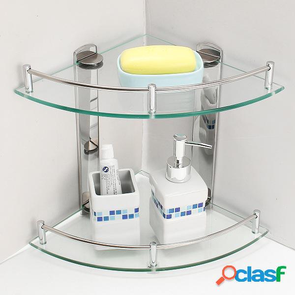 2 capas de vidrio de baño doble capa de acero inoxidable de pared trípode de almacenamiento de rack