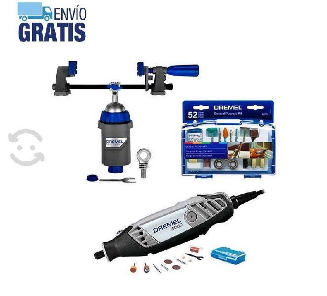 Mototool 3000 + prensa de banco multi-vise + 62 ac