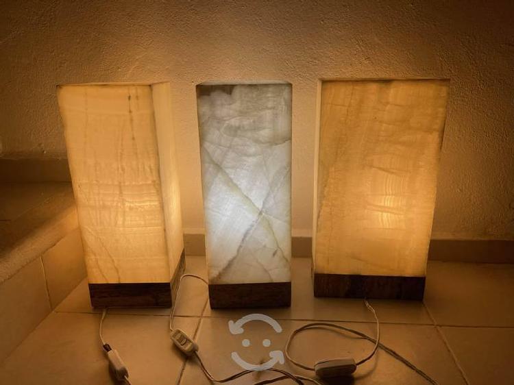 Set de tres lámparas de ónix
