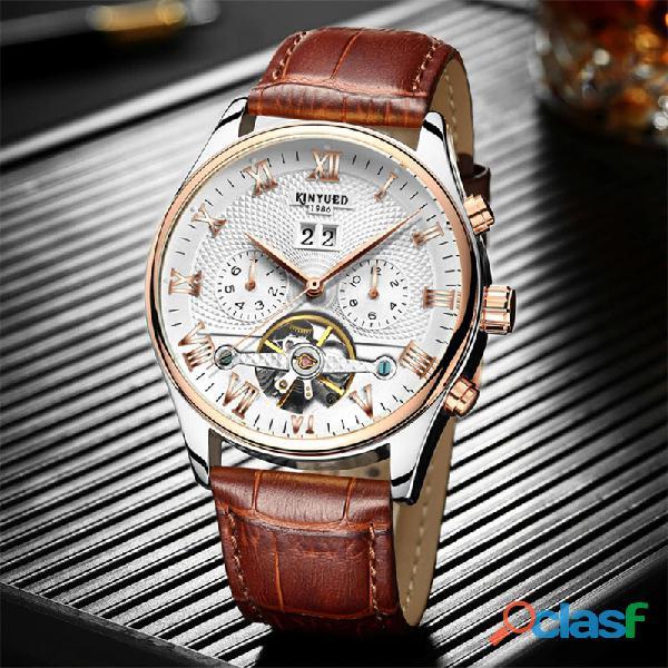 Reloj mecánico kinyued esqueleto tourbillon hombres automático clásico