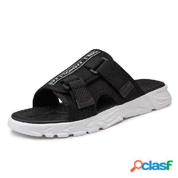 Tela para hombre gancho bucle sin cordones informal ligero playa zapatillas
