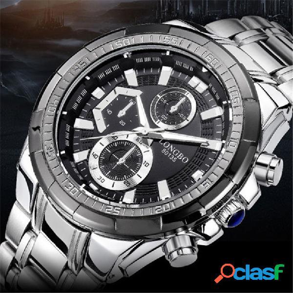 Acero inoxidable banda luminoso pantalla reloj de cuarzo de hombre con dial falso