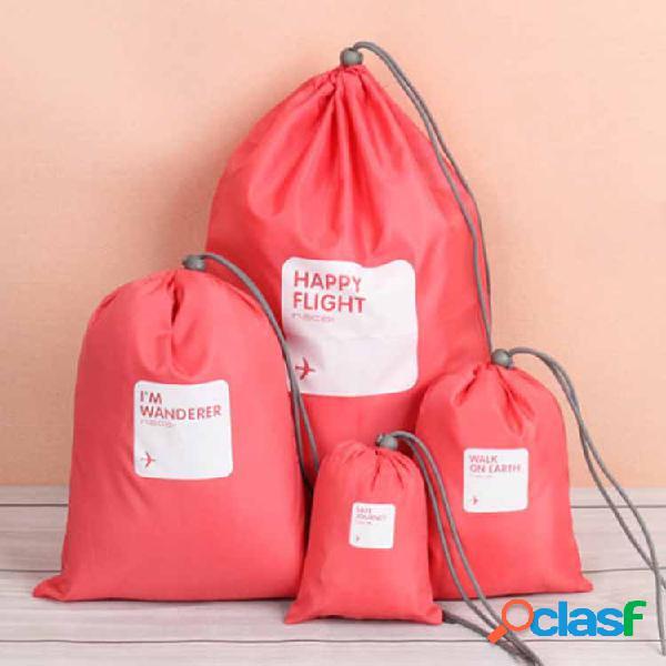 4 piezas impermeable nylon almacenamiento de viaje con cordón bolsa portátil organizador ropa zapatos almacenamiento