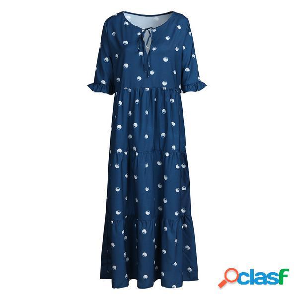 Vestido estampado con estampado de lunares en onda de europa y los estados unidos 832
