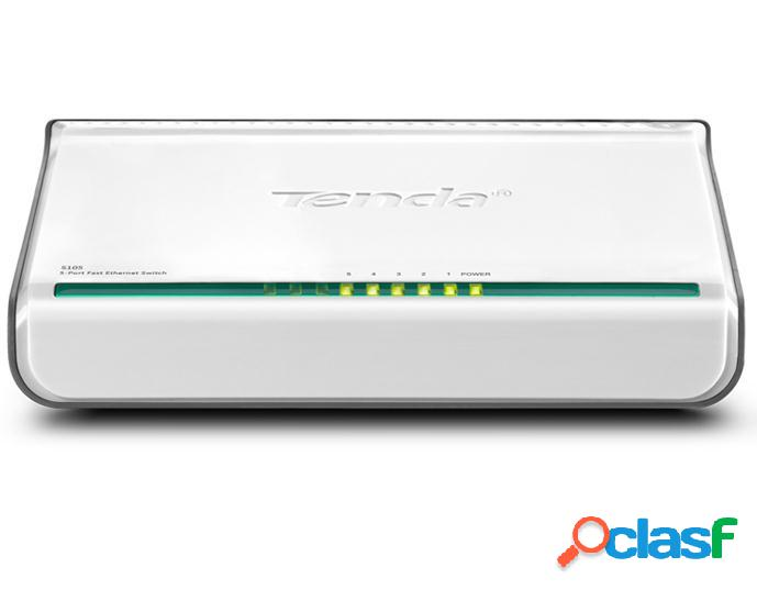 Switch tenda fast ethernet mini s105, 10/100mbps, 5 puertos - no administrable