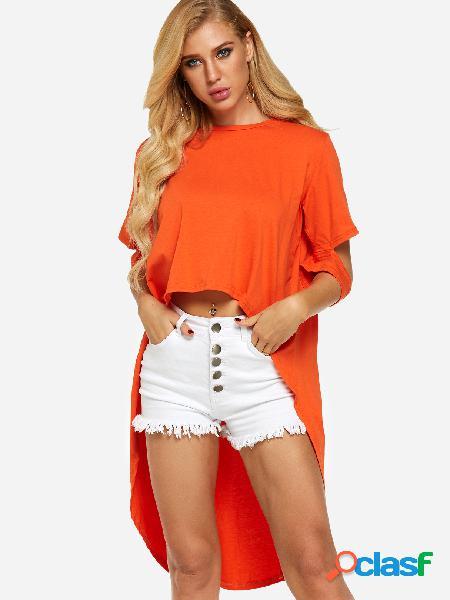 Camiseta naranja de manga corta y bajo-bajo