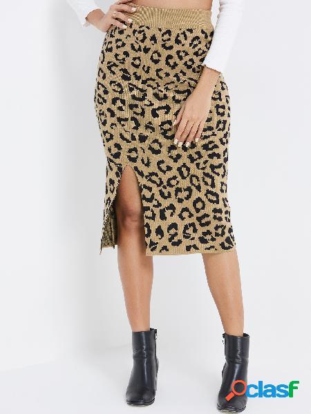Faldas de dobladillo con abertura y cintura alta de leopardo de albaricoque