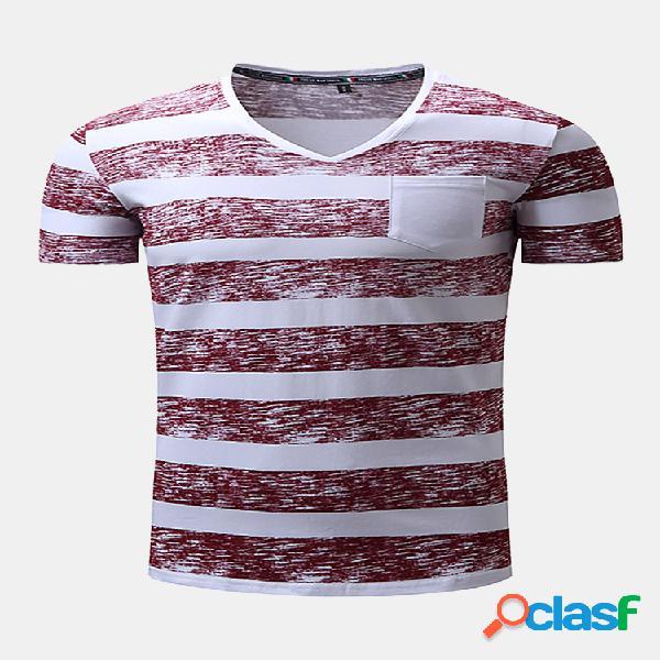 Camiseta a rayas de algodón de cuello en v y manga corta para hombres