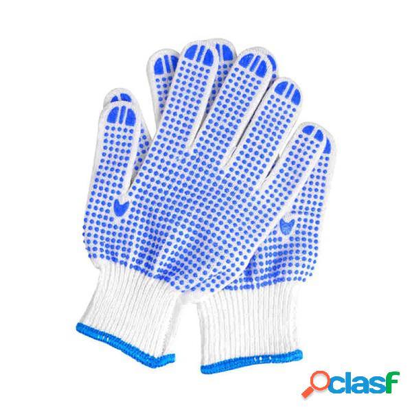 Guantes duraderos antideslizantes con puntos plásticos en azul guantes ligeros cómodos de protección para jardinería