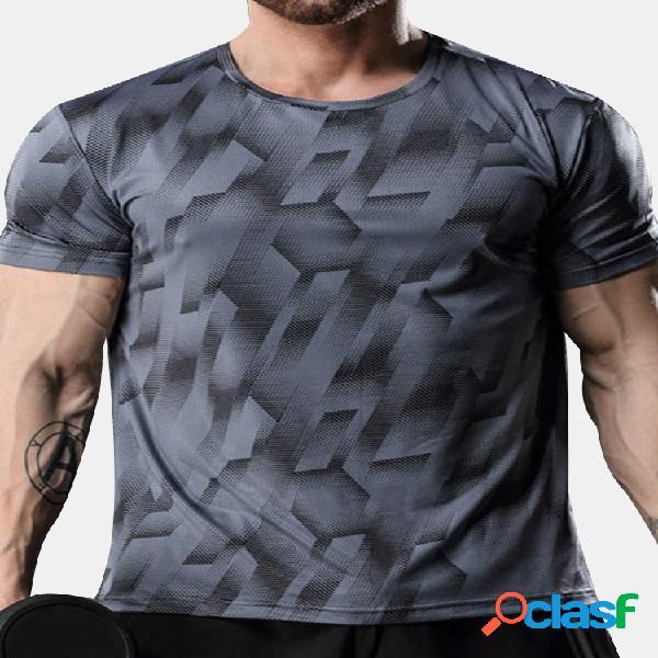 Camiseta de manga corta de entrenamiento casual elástica transpirable de secado rápido para hombre