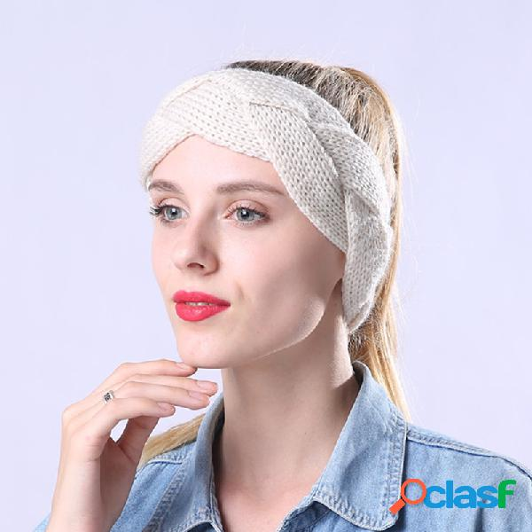 Mujer grueso lana cálida giro salvaje cómoda orejera gorros al aire libre viajar en casa diadema casual