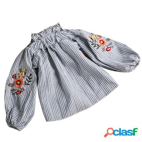 Ropa de niña primavera verano nueva chica flor bordado manga larga blanco camisa