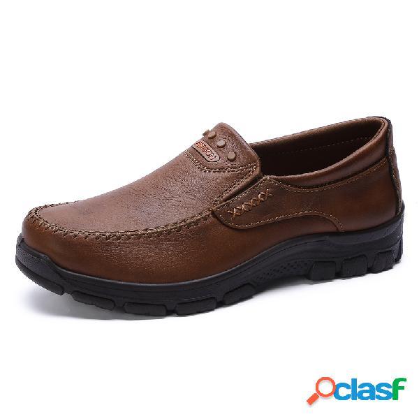 Zapatos informales cómodos y ligeros de tela de microfibra con punta de mocasín para hombre