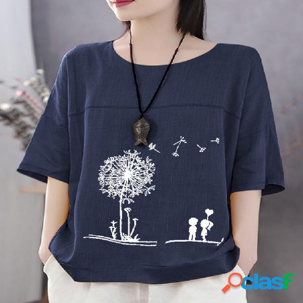 Camiseta de algodón de manga corta informal con estampado de flores de verano