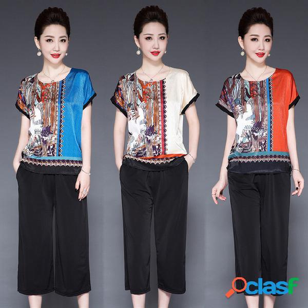Conjunto de traje de madre camiseta de seda de manga corta para mujer de mediana edad chaqueta esposa ancha traje de dos piezas