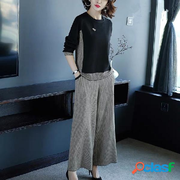 Traje informal de punto ancho pantalones traje goddess foreign de dos piezas