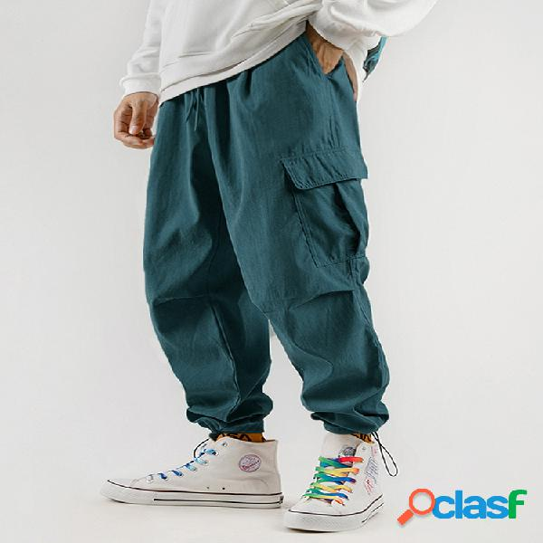Pantalón de chándal holgado con bolsillos múltiples con cordón para hombre carga pantalones
