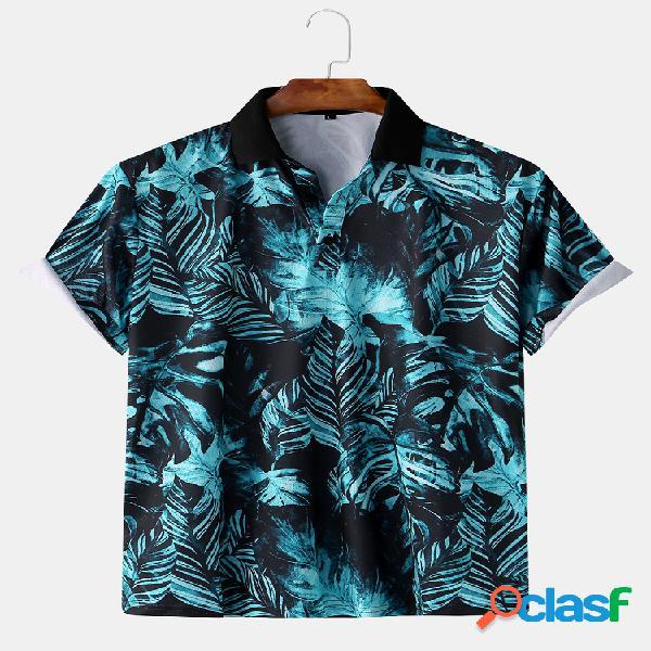 Pantalón tropical para hombre impreso delgado fit manga corta camisa golf camisa