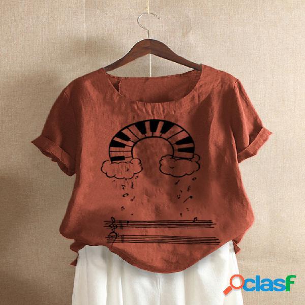 Camiseta de manga corta con cuello redondo y estampado de dibujos animados