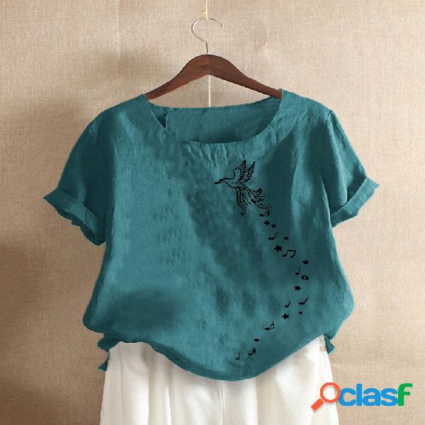 Camiseta de manga corta con cuello redondo y estampado de pájaros