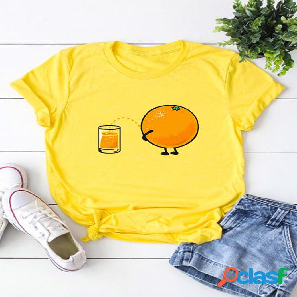 Camiseta de manga corta con estampado naranja de dibujos animados para mujer