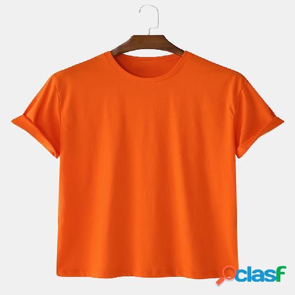 Camiseta básica de manga corta 100% algodón de 5 colores para hombre