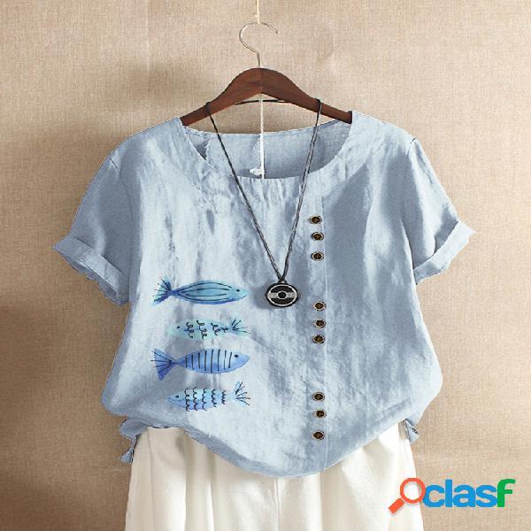 Camiseta de manga corta con cuello redondo y estampado de peces de dibujos animados