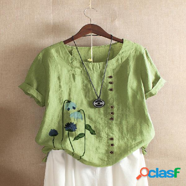 Camiseta de manga corta con estampado floral para mujer