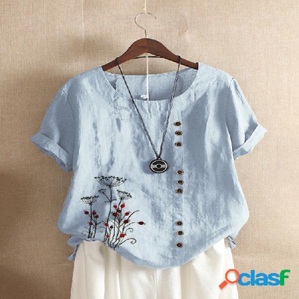 Vendimia camiseta de manga corta con bordado floral