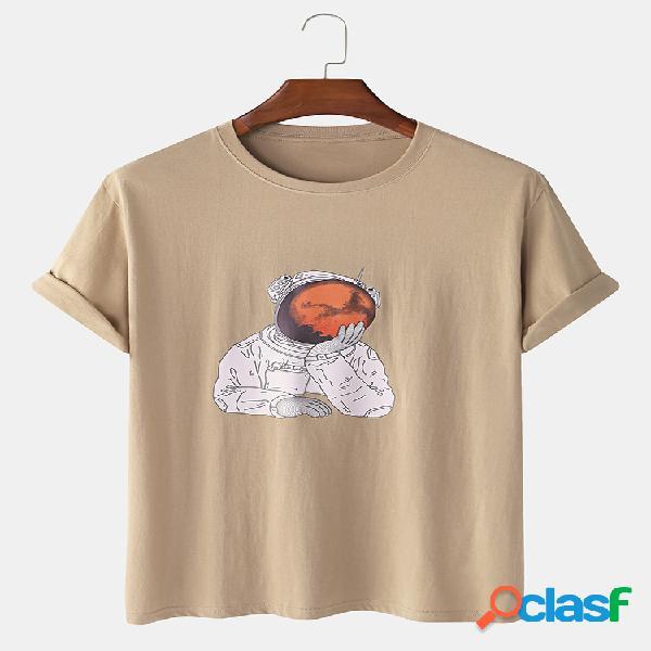 Camiseta estampada de manga corta con estampado de astronauta divertido 100% algodón para hombre