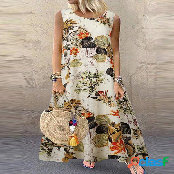 Estampado floral sin mangas plus talla vendimia vestido