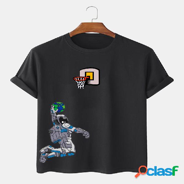 Camiseta de manga corta 100% algodón con gráfico de astronauta y tierra para hombre