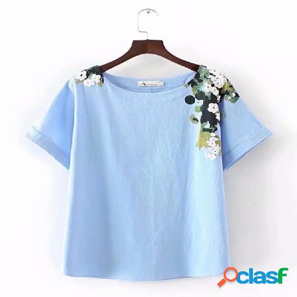 Camiseta estampada casual de manga corta para mujer