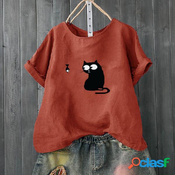 Dibujos animados gato camiseta de manga corta con cuello redondo y estampado de peces