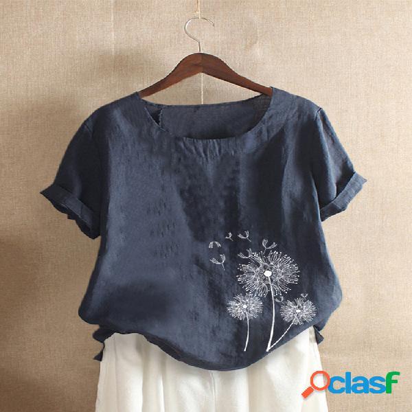 Camiseta casual de manga corta con cuello redondo y estampado de flores
