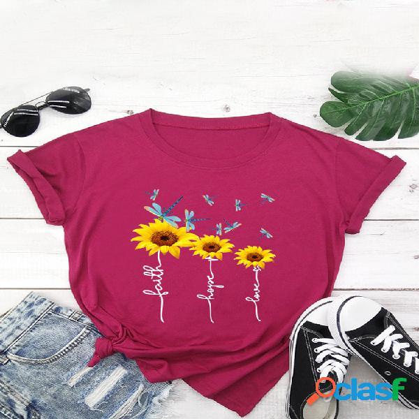 Camiseta de manga corta con cuello redondo y estampado floral