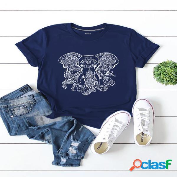 Camiseta de manga corta con cuello redondo y estampado de elefante para mujer