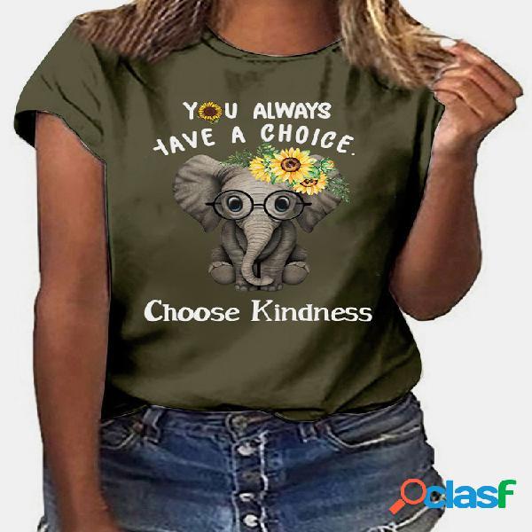 Camiseta informal de manga corta con cuello en o estampada para mujer
