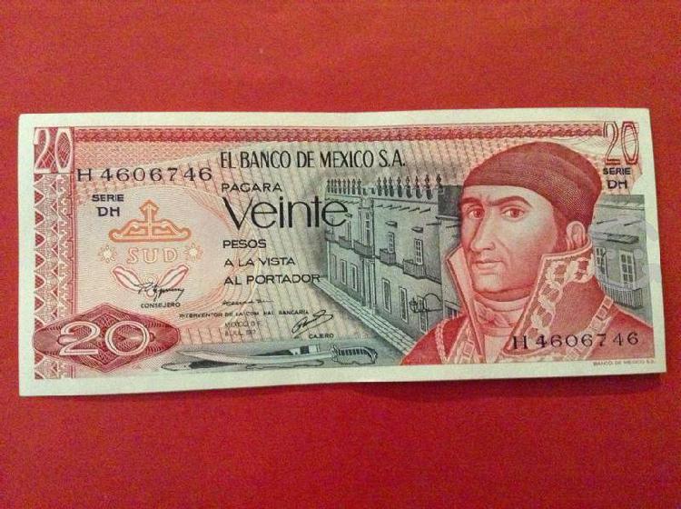 54 billetes de 20 pesos de morelos