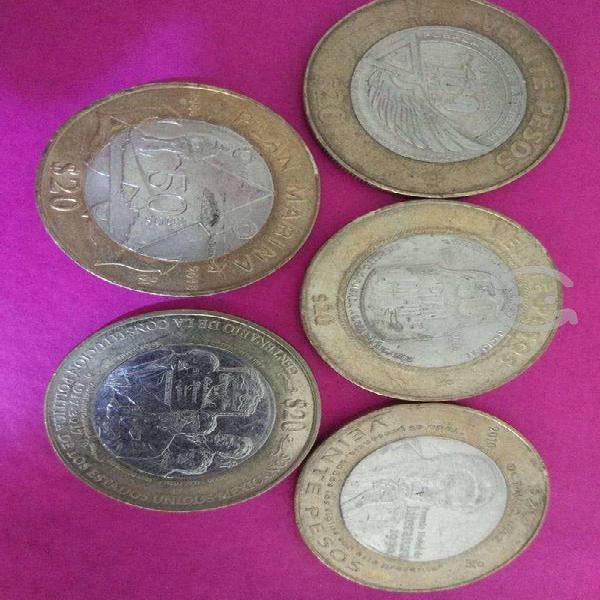 Monedas conmemorativas de colleciòn de 20 pesos