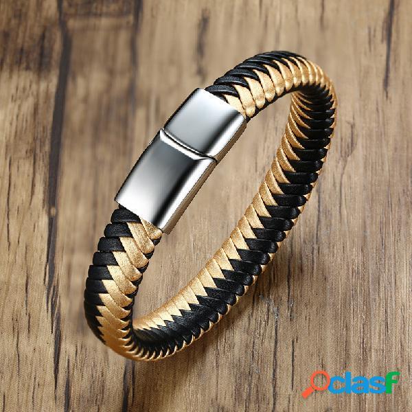 Pulsera tejida de cuero de oro negro cadena de acero inoxidable para hombres imán hebilla joyas para hombres